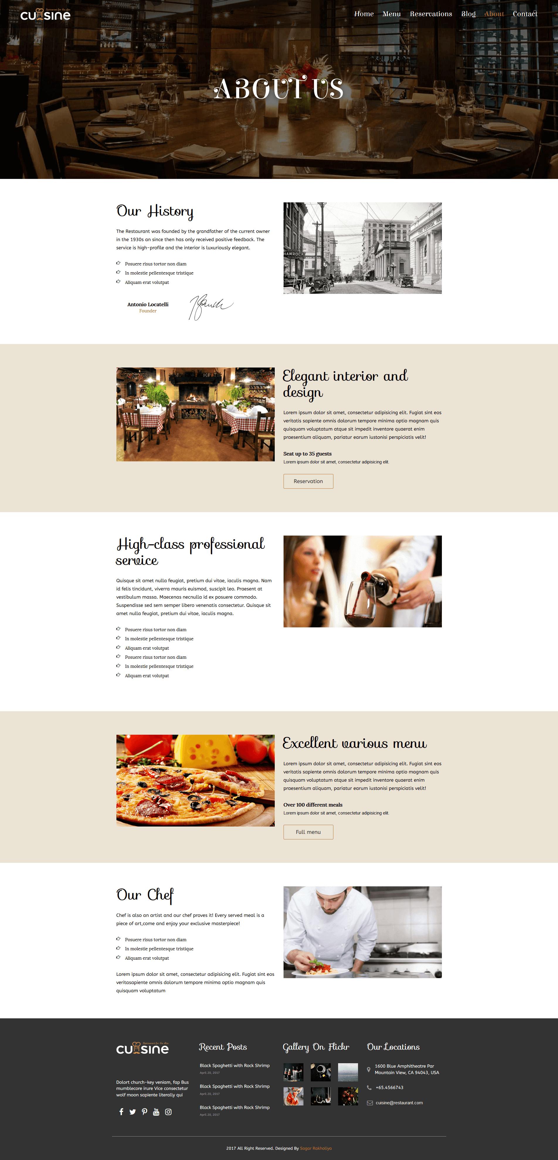 Cuisine Responsive Restaurant Html Template By Sagarmr
