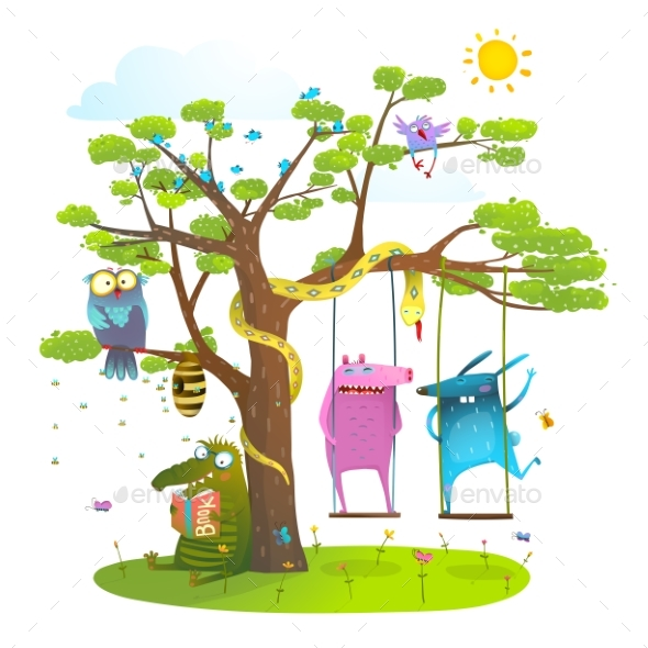 Tree Friends Animals Birds Monsters Bees in Sunny - Monsters Characters