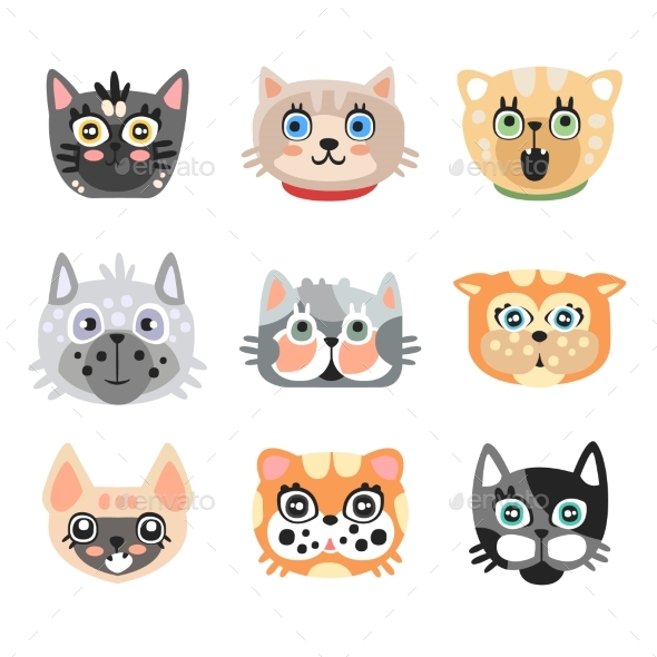 Set of Cute Cartoon Cats Heads. Colorful Character - Animals Characters