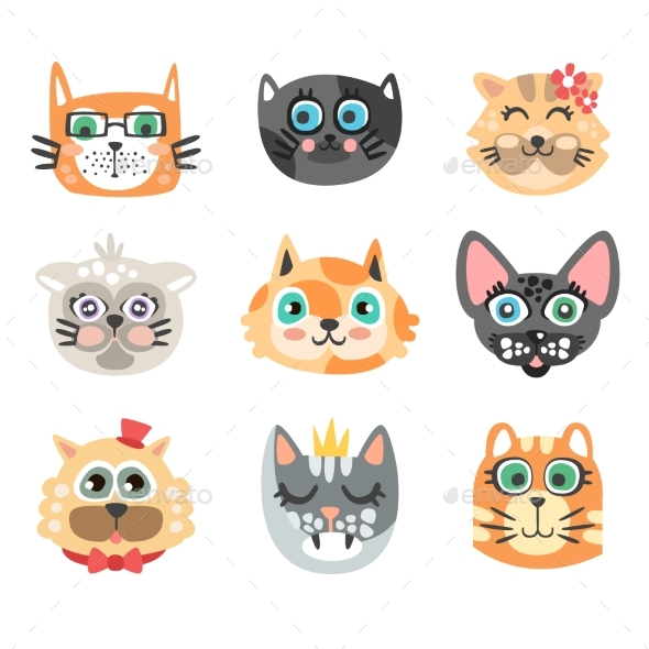 Set of Funny Cartoon Cats Heads. - Animals Characters