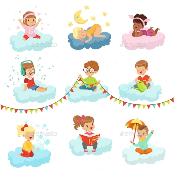Lovely Little Boys and Girls Sitting on a Clouds - Seasons/Holidays Conceptual