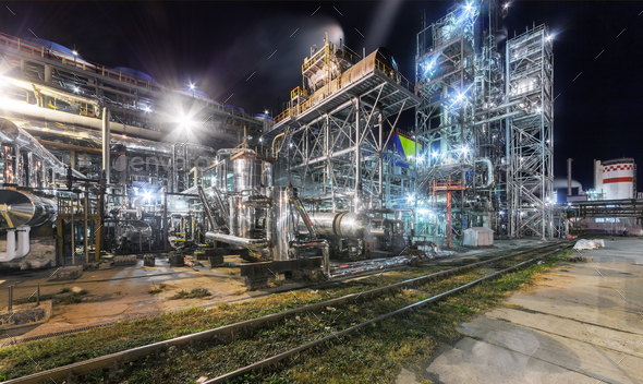 Chemical plant at night - Stock Photo - Images