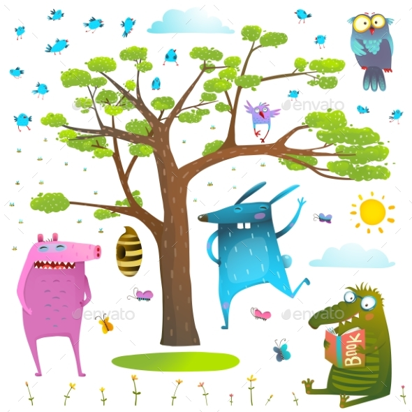 Animals Tree Sky Sun and Birds Clip Art Collection - Miscellaneous Vectors