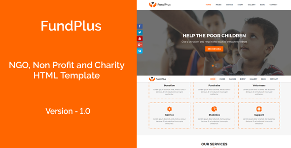 FundPlus – NGO, Non Profit and Charity HTML Template