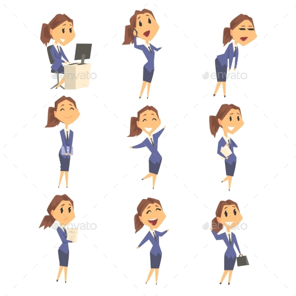 Set of Businesswoman Characters - People Characters