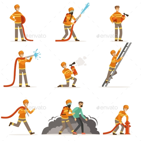 Firemen Characters Doing Their Job and Saving - Miscellaneous Vectors