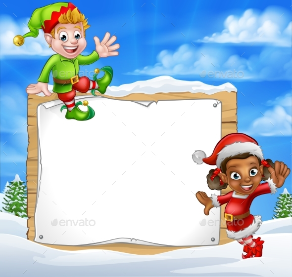 Christmas Elf Cartoon Characters Snow Sign - Christmas Seasons/Holidays