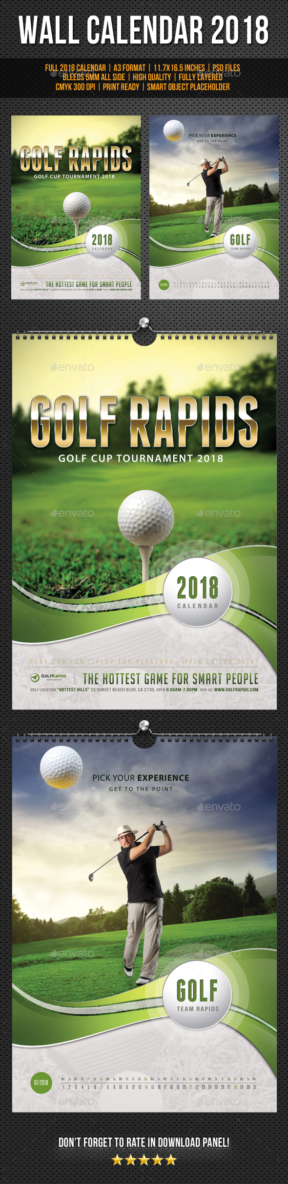 Golf Play Wall Calendar A3 2018