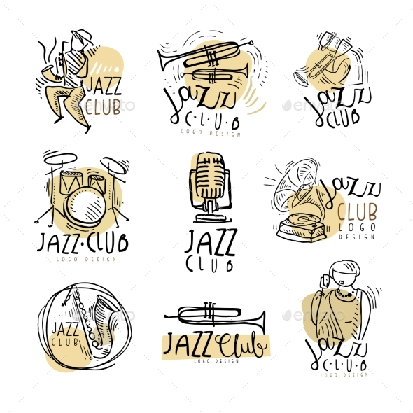 Jazz Club Emblems - Decorative Symbols Decorative