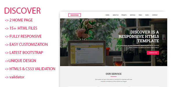 Discover Html5 Responsive Template - Creative Site Templates
