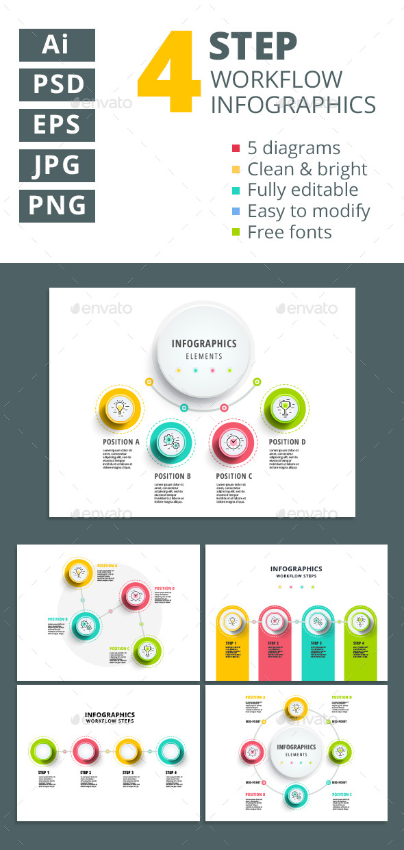 4 step workflow infographics elements - Infographics