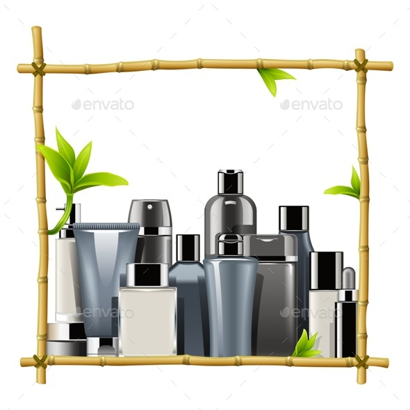 Vector Bamboo Frame with Male Cosmetics - Health/Medicine Conceptual
