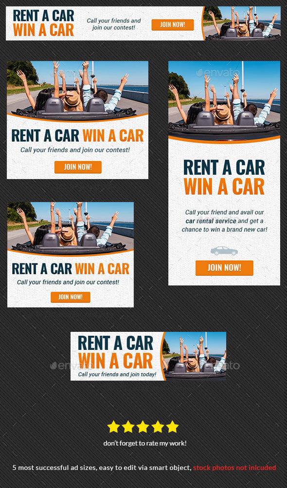Car Rental Web Banner Ad - Banners & Ads Web Elements