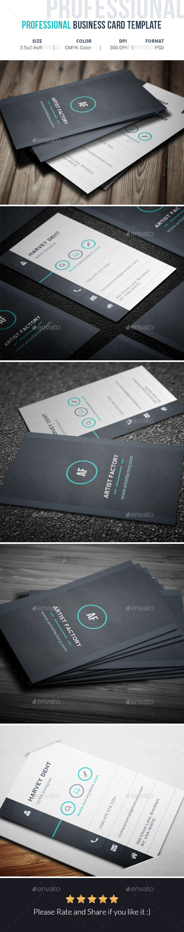 Professional Business Card Template - Corporate Business Cards