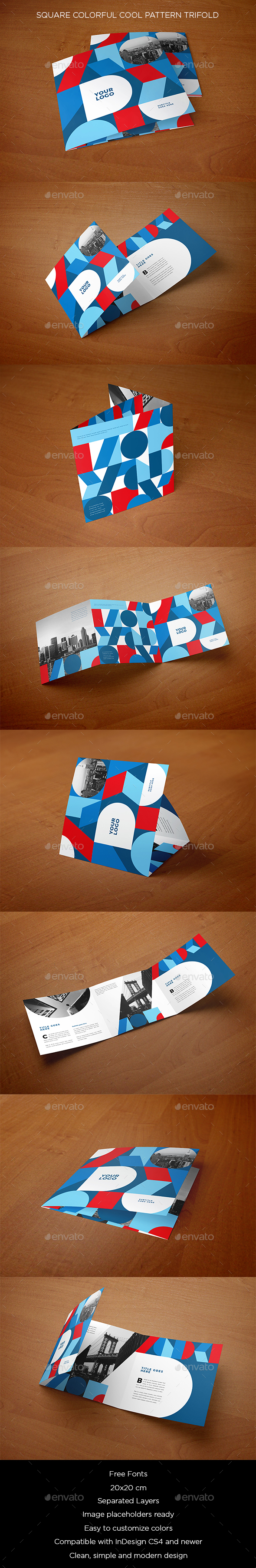 Square Colorful Cool Pattern Trifold - Brochures Print Templates