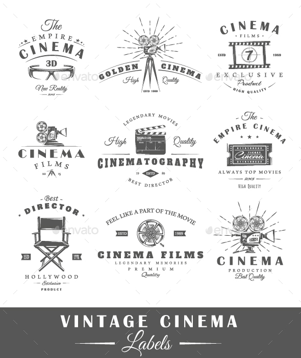 Set of Vintage Cinema Labels - Miscellaneous Vectors
