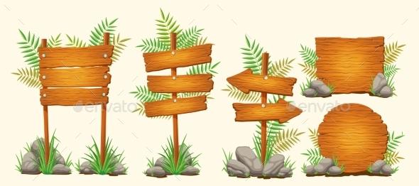 Set of Vector Cartoon Wooden Signs - Miscellaneous Vectors