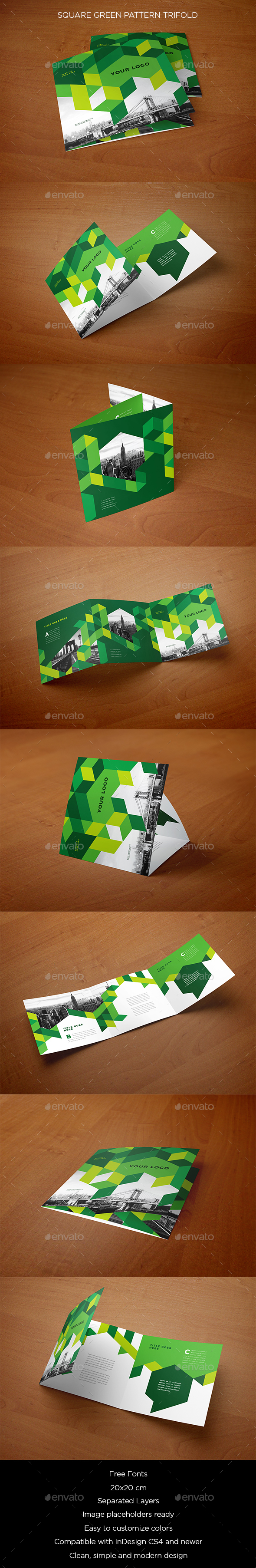 Square Green Pattern Trifold - Brochures Print Templates