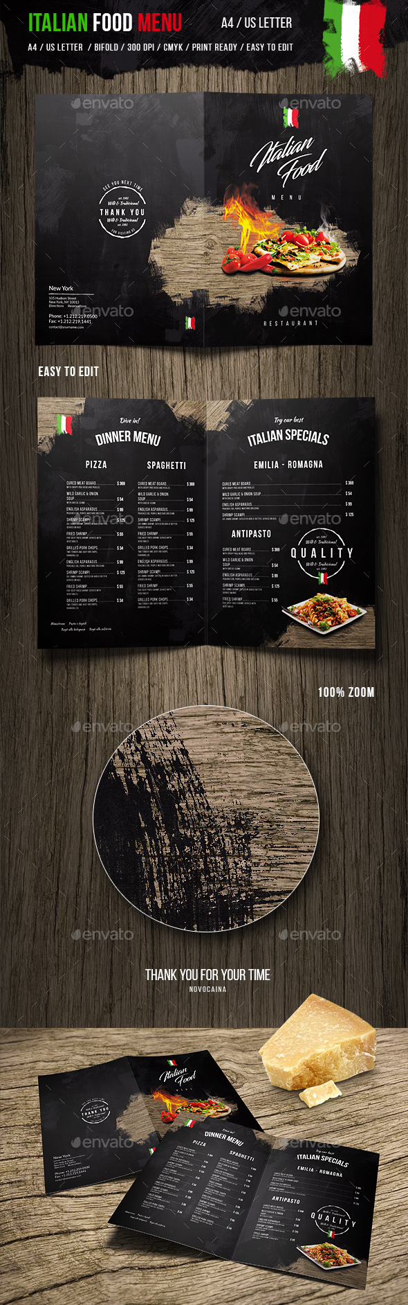 Italian Food Menu - A4 and US Letter - Food Menus Print Templates
