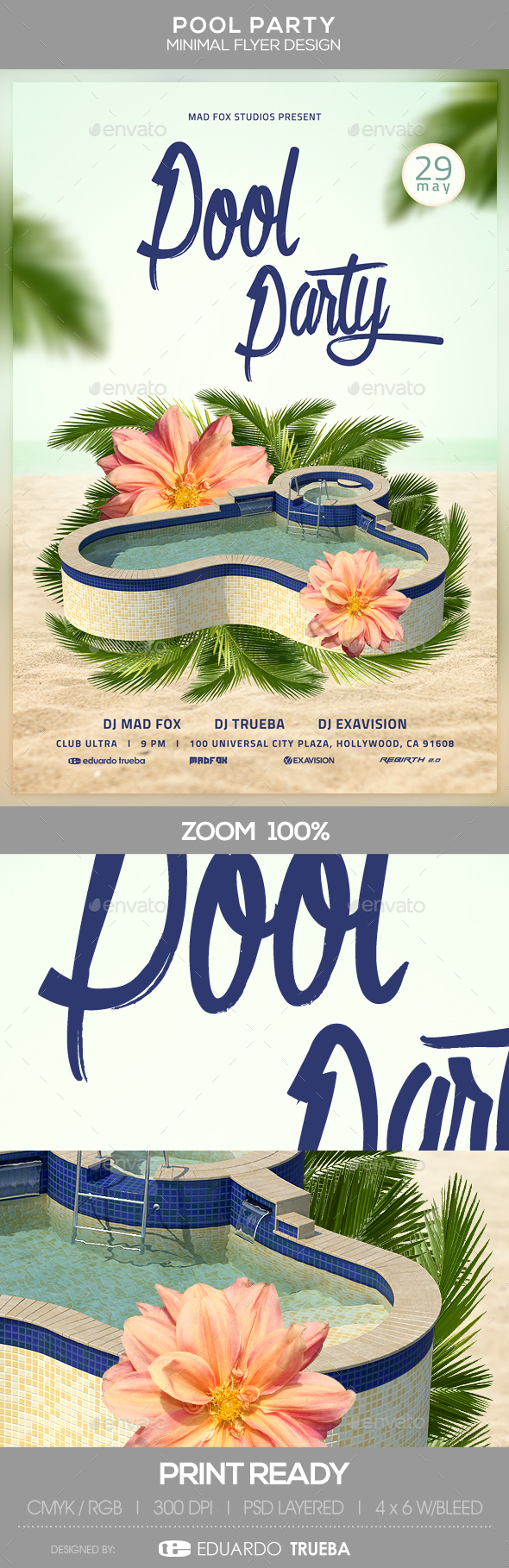 Pool Party Minimal Flyer Design - Events Flyers