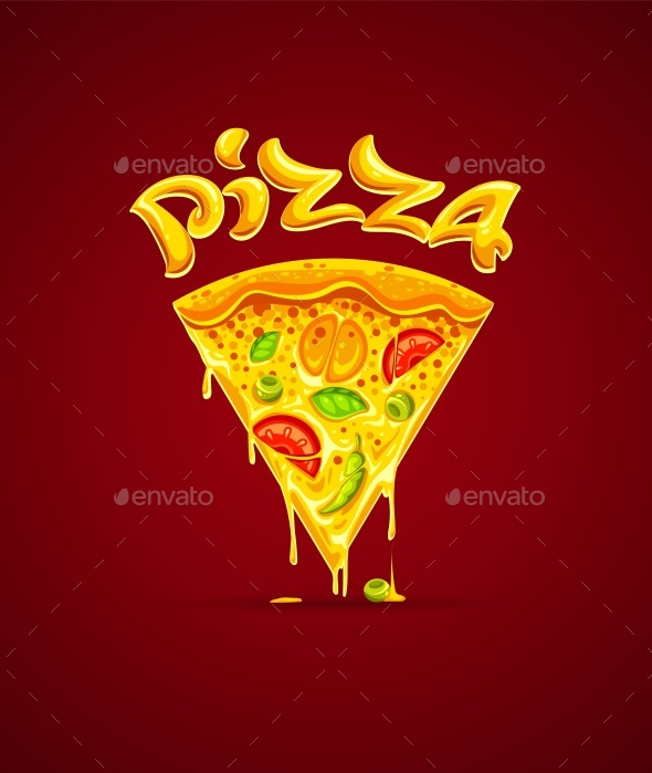 Italian Pizza with Cheese Mozzarella Vector Illustration - Food Objects