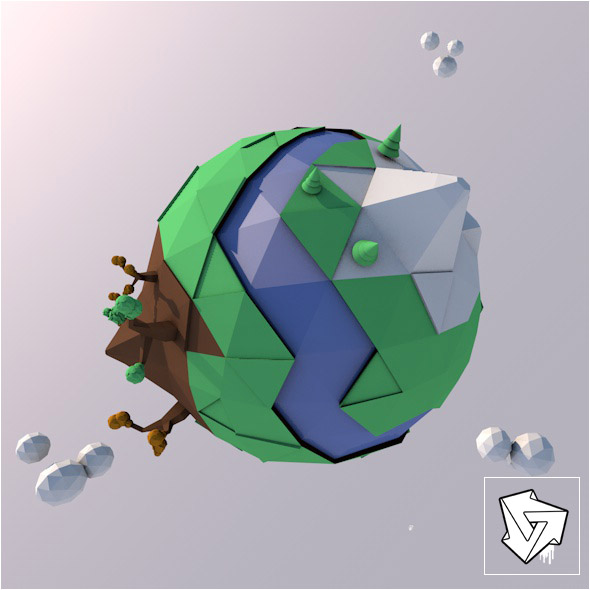 Earth_Low_Poly - 3DOcean Item for Sale