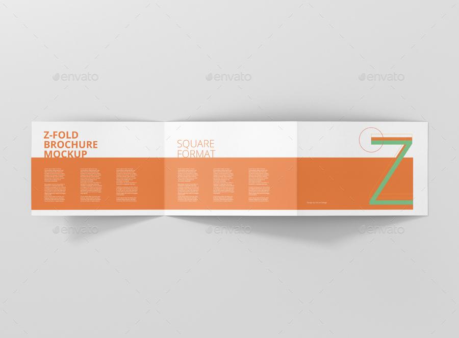 z fold brochure mockup landscape din a4 a5 a6