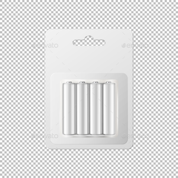 Vector Realistic White Alkaline AA Batteries - Man-made Objects Objects