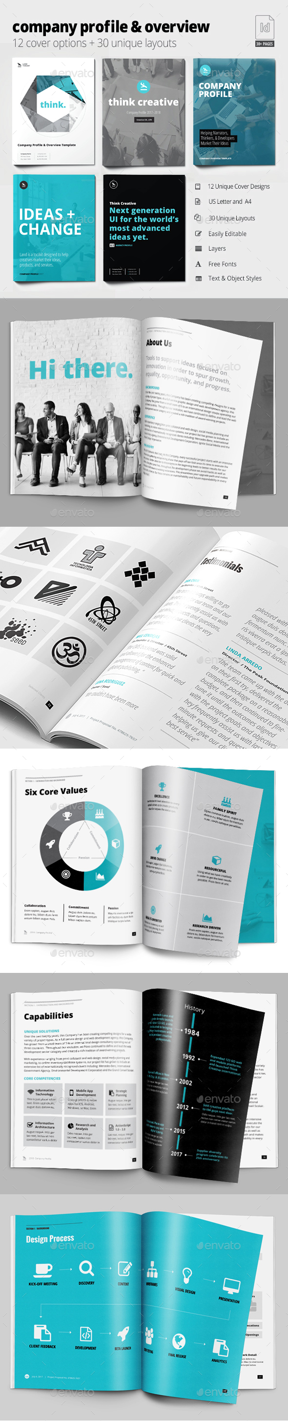 Company Profile & Overview Template - Brochures Print Templates