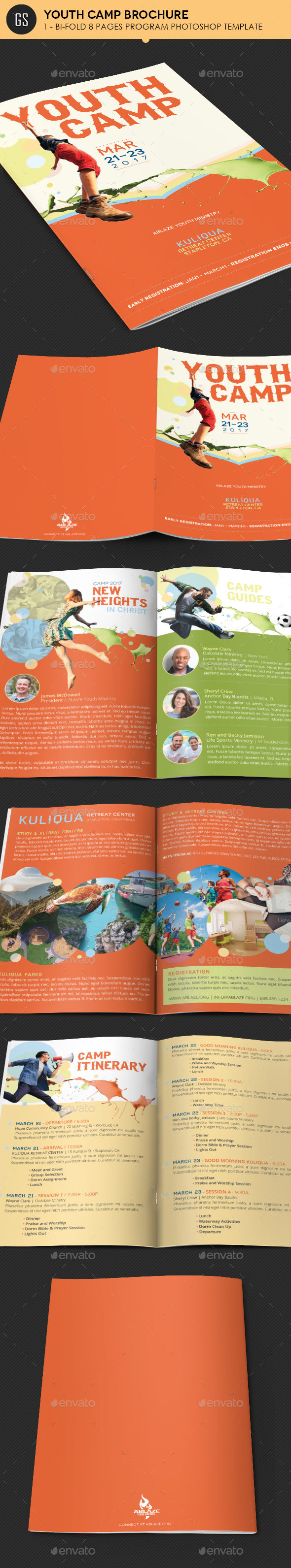 Youth Camp Bi-Fold Brochure Template - Informational Brochures