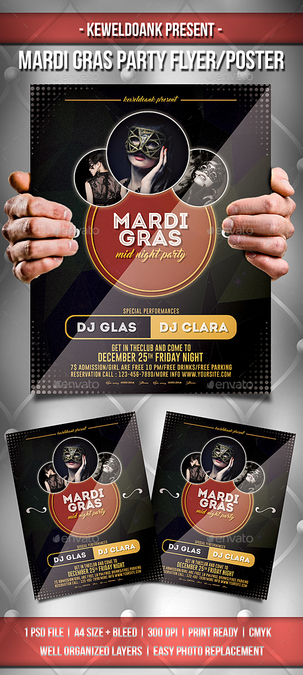 Mmardi Gras Party Flyer / Poster - Clubs & Parties Events
