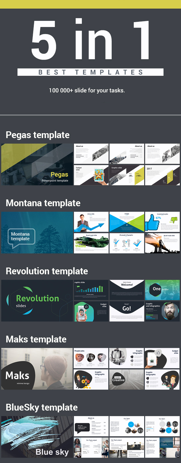 5 in 1 Bundle Keynote Pack 1 - Business Keynote Templates