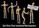 Five Isolated Artist Wood Models/Mannequins (set 1) - GraphicRiver Item for Sale