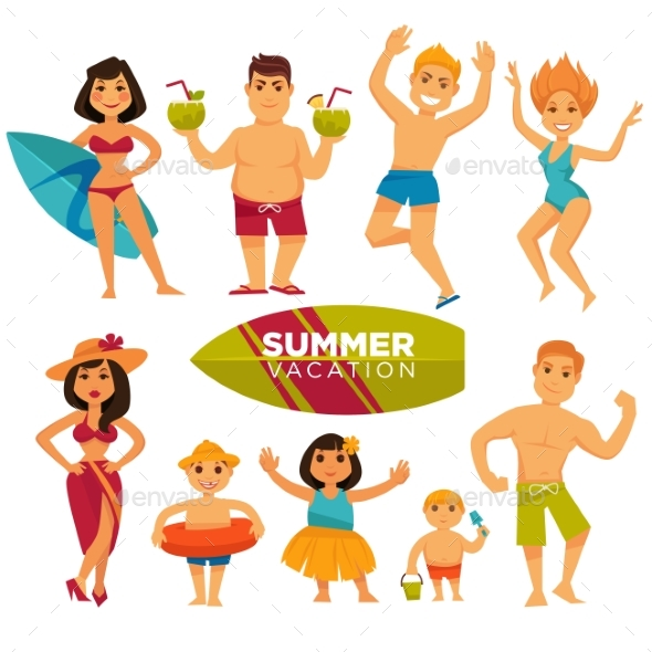 People in Swimsuits on Summer Holidays Colorful - People Characters