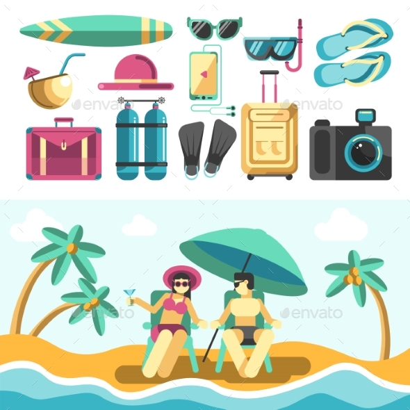 Man and Woman on Beach and Set of Vacation Things - Seasons/Holidays Conceptual