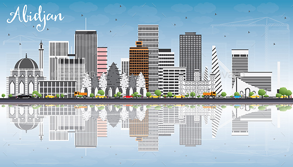 Abidjan Skyline with Gray Buildings, Blue Sky and Reflections. - Buildings Objects