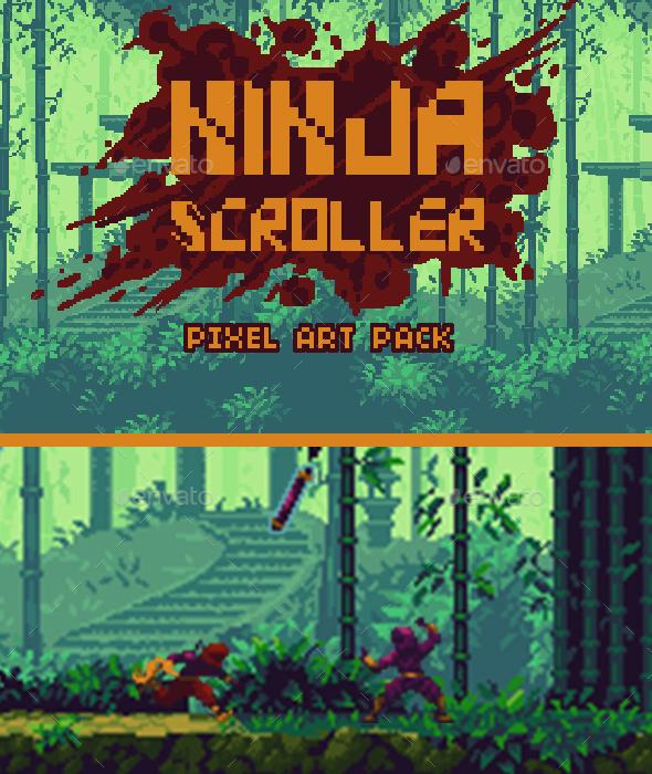 Ninja Scroller Game Pixel Art Pack - Game Kits Game Assets