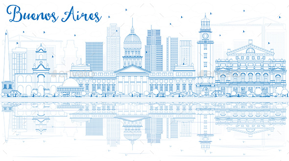 Outline Buenos Aires Skyline with Blue Landmarks and Reflections. - Buildings Objects
