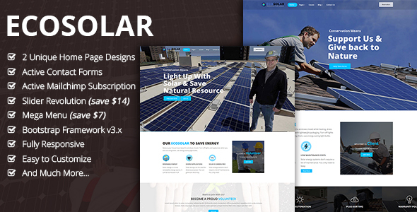 EcoSolar - Nonprofit Environment Recyling Solar HTML5 Template - Environmental Nonprofit