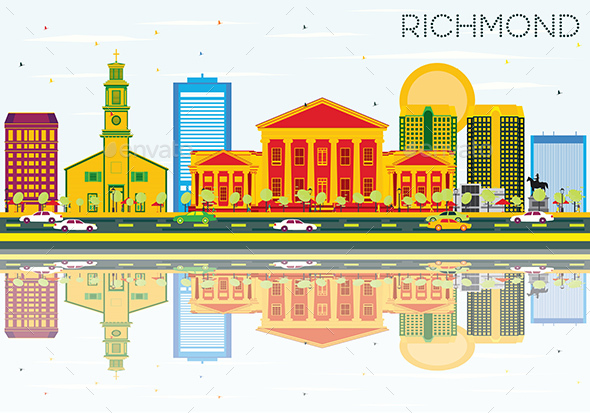 Richmond Skyline with Color Buildings, Blue Sky and Reflections. - Buildings Objects