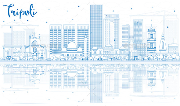 Outline Tripoli Skyline with Blue Buildings and Reflections. - Buildings Objects