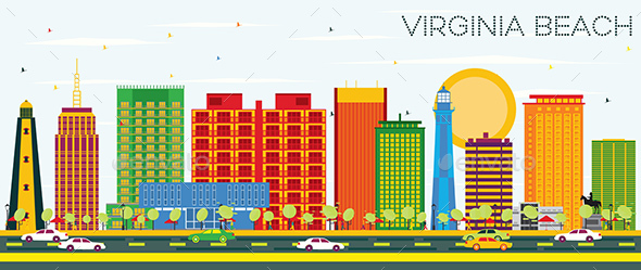 Virginia Beach Skyline with Color Buildings and Blue Sky. - Buildings Objects