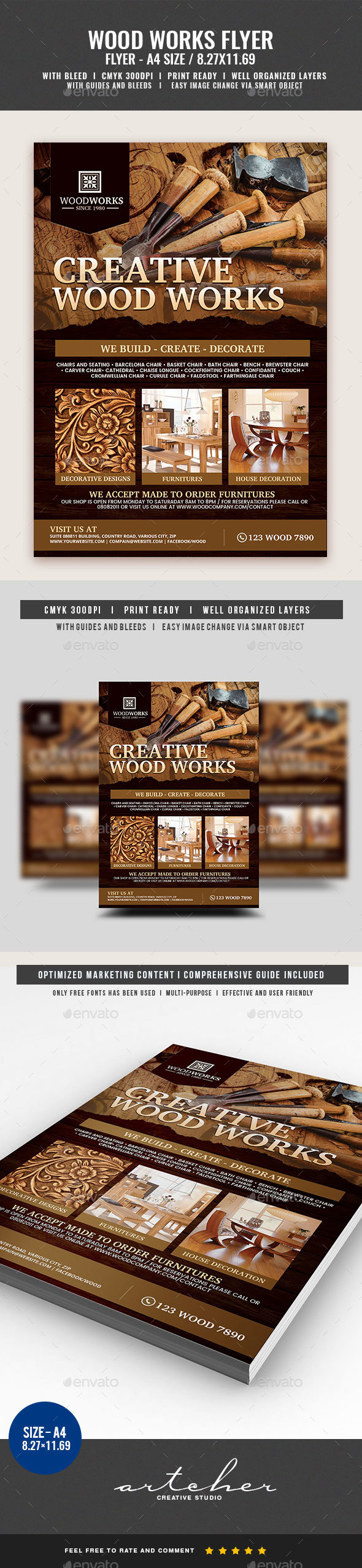 Wood Works and Wood Craft Flyer - Flyers Print Templates