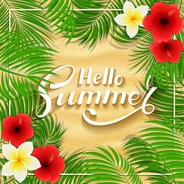 Summer Hawaiian Flowers on Sandy Background - Flowers & Plants Nature