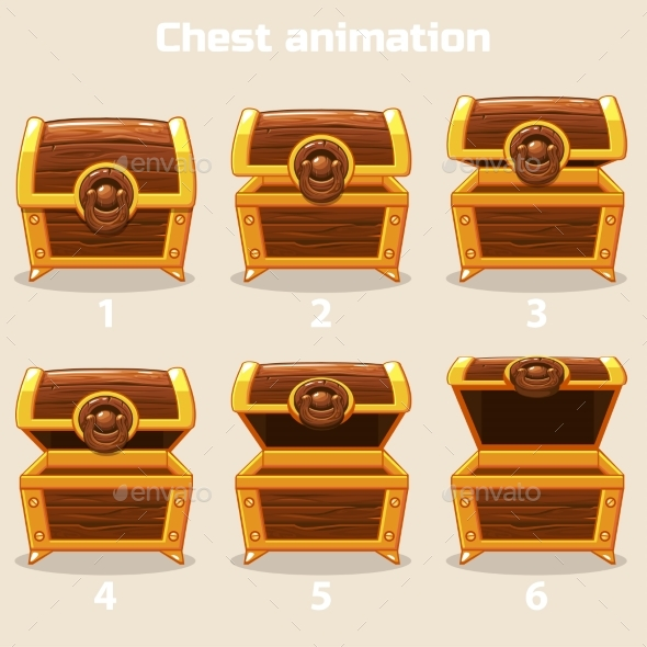 Animation Step By Step Open and Closed Wooden - Buildings Objects