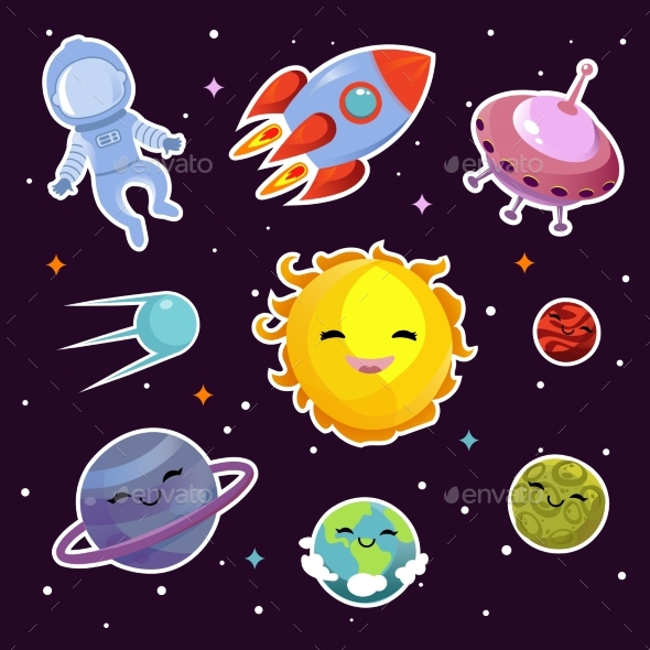 Space Vector Fashion Patch Badges with Planets - Web Elements Vectors