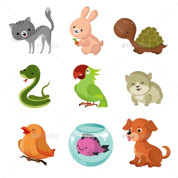 Pets Domestic Animals Vector Flat Icons - Animals Characters