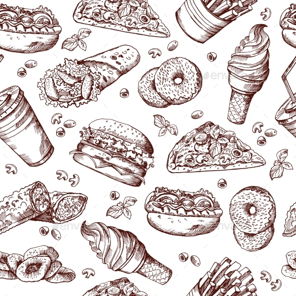 Fast Food Vector Seamless Pattern. Hand Drawn - Backgrounds Decorative