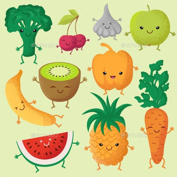 Happy Cartoon Fruits and Garden Vegetables - Food Objects