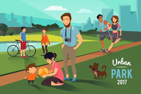 Outdoor Activities in Urban Park. Happy Family - People Characters